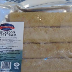 Deluxe cod fillet fish fingers at Peets Plaice in Southport