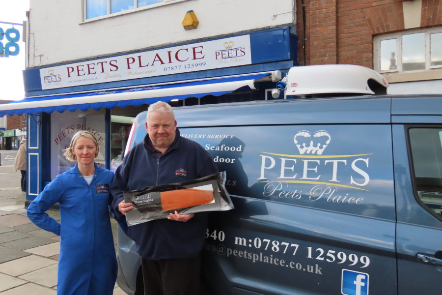 Kevin and Nicola Peet owners of Peets Plaice fish shop n Southport