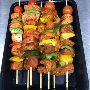 Teriyaki King Prawn Kebabs at Peets Plaice in Southport