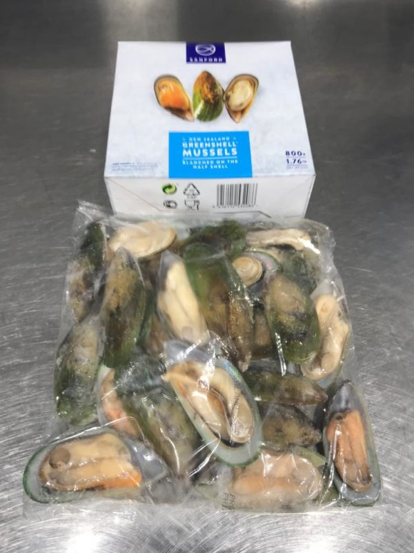 Greenshell mussels. One kilo, frozen. The best you can buy! At Peets Plaice in Southport.