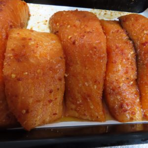 Sweet Chilli salmon fillets at Peets Plaice in Southport