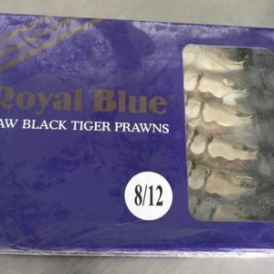 Royal Blue raw black tiger prawns at Peets Plaice in Southport