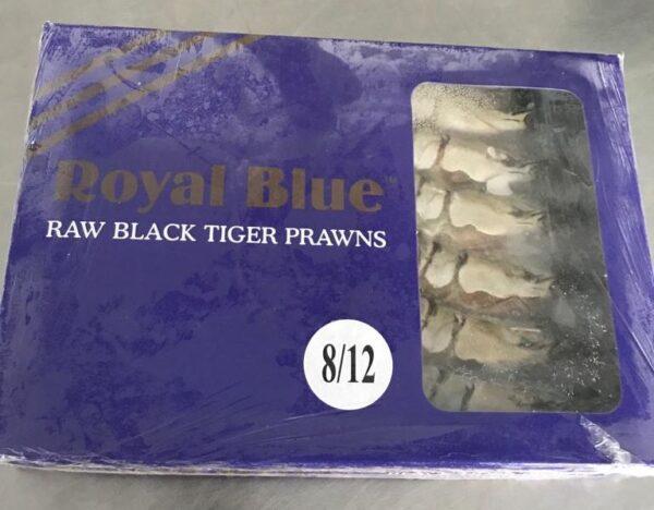 Royal Blue raw black tiger prawns at Peets Plaice in Southport