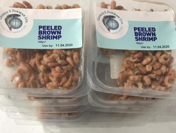 Fresh peeled brown shrimps at Peets Plaice in Southport