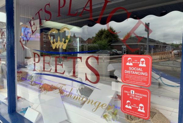 Peets Plaice in Southport is ready to reopen thanks to social distancing signage and barriers put into place by Magnetic Activation in Southport