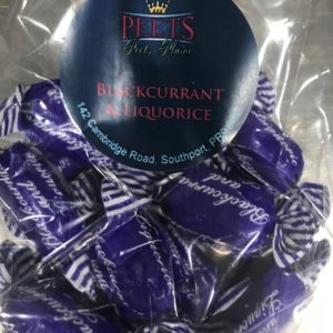 Blackcurrant Liquorice sweets at Peets Plaice in Southport