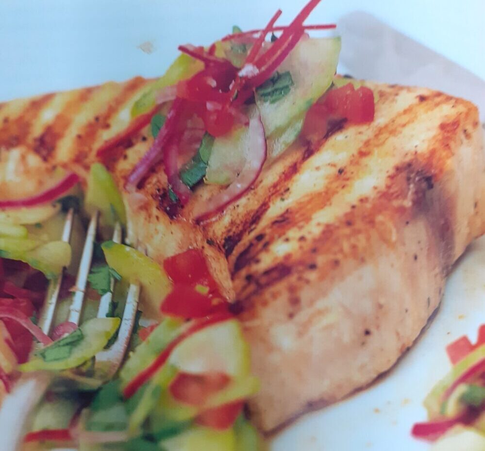 Grilled Swordfish with Marinated Cucumber Salsa
