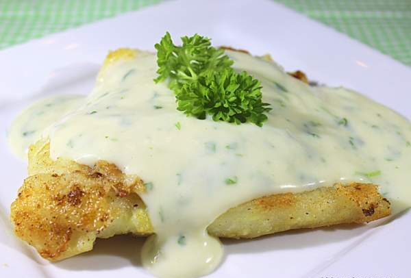 Baked Cod Loin with Parsley Sauce