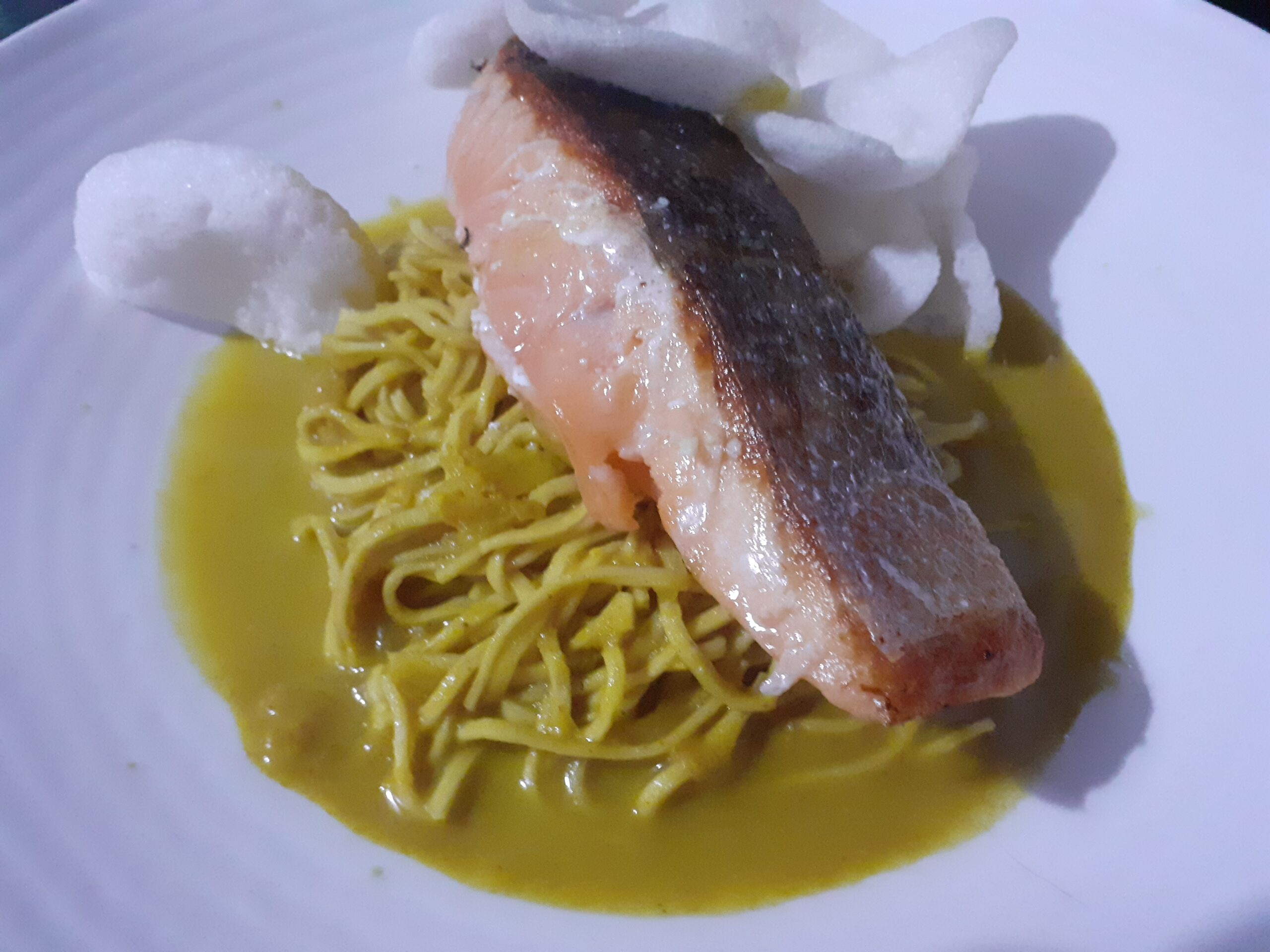 Pan Fried Salmon Supreme with Katsu Style Curried Noodles
